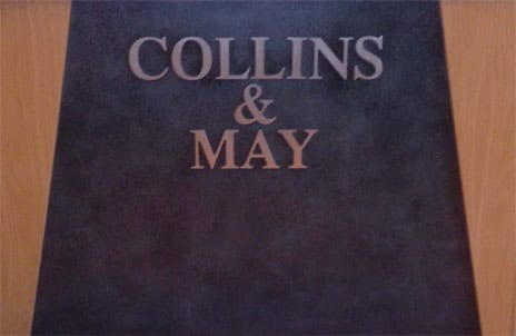 Collins and May desktop plaque